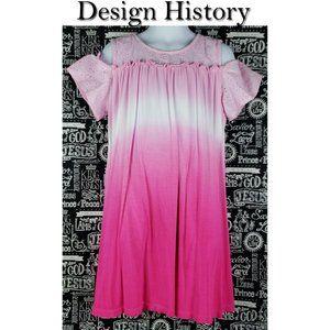 Design History Pink Cold Shoulder Tye Dye Dress 6X